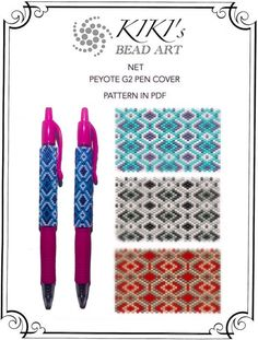 Pattern, peyote pen cover, Silvery Golden Turquoise Net peyote pattern set of 3 for pen wrap for G2 Pilot pen in PDF instant download