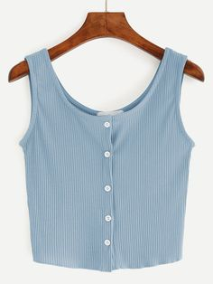 a24d53caa3da8 Blue Button Front Ribbed Tank Top Plain Crop Tops