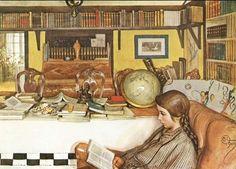 Carl Larsson - La pièce de lecture, 1909.  http://sunnydaypublishing.com/books/