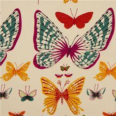 cream animal fabric butterflies Alexander Henry USA 1