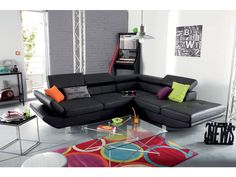 Canapé d'angle fixe droit 5 places LOFT coloris noir prix promo Canapé Conforama 699.00 €