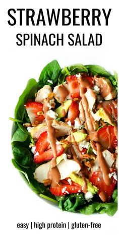 This strawberry spinach salad is a light, healthy and filling salad that's packed with refreshing flavours and nutrients and gets a boost of protein from the grilled chicken! The strawberry salad dressing is super refreshing and the perfect way to make use of the seasonal produce this summer. #strawberrysalad #chickensalad #healthylunch #saladrecipes #glutenfree Spinach Salad With Chicken, Grilled Chicken Salad, Spinach Salads, Spinach Recipes, Healthy Salads, Healthy Recipes, Weeknight Recipes, Thm Recipes, Healthy Lunches