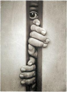 peeking thru the door