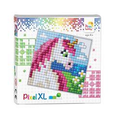 Pixelhobby XL - Complete Set - Eenhoorn Eigenschappen Pixelhobby XL: - Geschikt voor kinderen vanaf 4 jaar. - 1 Pixel XL is even groot als 4 kleine pixels van Pixelhobby. - Pixelhobby XL bestaat uit 94% Biologische grondstoffen gewonnen uit suikerriet. Card Patterns, Beading Patterns, Quilt Patterns, Paper Patterns, Pattern Art, Pattern Paper, Safety Pin Art, Pixel Xl, Tapestry Crochet