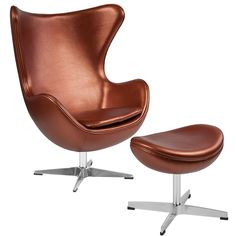 Copper Leather Egg Chair w/ Tilt-Lock Mechanism & Ottoman - Flash Furniture retro style chair will become everyone's favorite chair whether it is used in the home or office. The Egg Chair can be used in the home, but will add a distingu Pink Desk Chair, Egg Chair, Desk Chairs, Ikea Chairs, Office Chairs, Room Chairs, Salon Chairs, Dining Chairs, Chair And Ottoman Set
