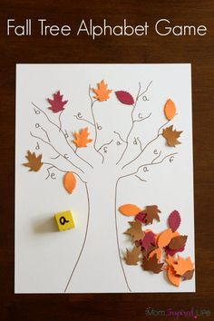 A fall alphabet activity for preschool. Letter learning game for fall. The other day I made a fall tree roll and cover alphabet game that we can play again and again during the fall season! It is a great alphabet activity to play this time of year! Letter Learning Games, Letter Activities, Alphabet Activities, Fall Preschool Activities, Thanksgiving Activities, Tree Study, Autumn Theme, In Kindergarten, Fall Crafts
