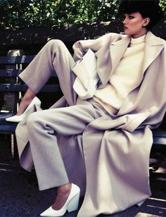 """Jil Sander coat + Céline pumps + Lanvin trousers = Sharp Tailored Look. Kasia Struss featured in """"Wir Sind So Frei"""" editorial for the September 2012 issue of Vogue Germany. Shot by Claudia Knoepfel and Stefan Indlekofer."""