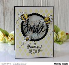 Thinking of You with Pretty Pink Posh Handmade Shaker Card Bee Friends #prettypinkposh