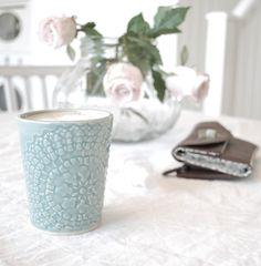 ETHNIC, keramik mugg, 3,5dl  100% stengods, Aqua, Pris  275 kr.
