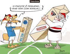 Charge do Dum (Zona do Agrião) sobre a troca de Neilton por Hudson entre Cruzeiro e São Paulo (23/12/2016) #Charge #Dum #Futebol #Cruzeiro #SãoPaulo #Hudson #Neilton #HojeEmDia