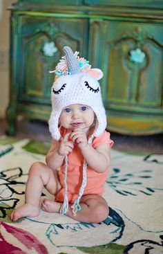 Sleepy Unicorn Crochet Beanie Custom Made - 2014 Winter Beanies for Girls… Crochet Baby Hats, Crochet Beanie, Crochet For Kids, Baby Knitting, Knit Crochet, Knitted Baby, Knitting Projects, Crochet Projects, Unicorn Hat