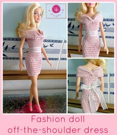Fashion doll off the shoulder dress - free crochet pattern
