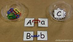 """Children attach matching letter cards together with learning links. This is a great activity for developing letter recognition as well as fine motor skills ("""",)"""