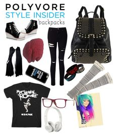 """""""Emo back to school """" by mikeycliffordismine ❤ liked on Polyvore featuring Miss Selfridge, Diophy, Beats by Dr. Dre, Ray-Ban, Casetify, Laundromat, Valentino, backpacks, contestentry and PVStyleInsiderContest"""