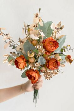 Burnt Orange Weddings, Orange Wedding Flowers, Sage Green Wedding, Boho Flowers, Orange Wedding Decor, Autumn Wedding Decorations, November Wedding Flowers, Fall Flowers, Boho Wedding Bouquet