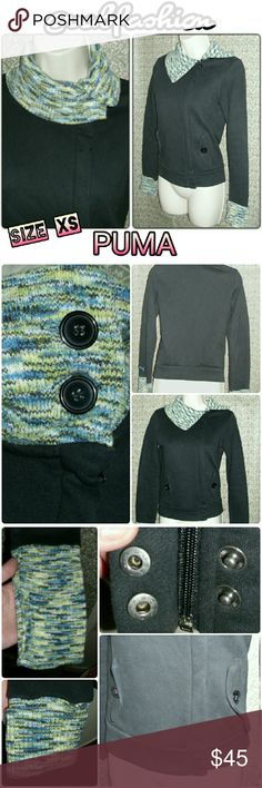 """FIRM! PUMA EXTRA LONG SLEEVE BUTTON COWL JACKET! Perfect for fall!! Thick and soft sweatshirt feel jacket by puma! Multicolor knit cowl and sleeve cuffs made of70% acrylic and 30% wool. Off center zipper for a trendy look! Two buttons at bottom of the zipper to cover it for a smooth look! Cowl has 2 large buttons for a versatile look! Two button front pockets as well! Cuffs are 6.5"""" long!! So can be folded to a desired length. Cowl is 5"""" high. Total length of jacket is 20""""  Jacket itself is…"""