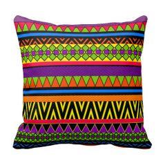 Zigzag Tribal Aztec Pattern Throw Pillow.  $28.95
