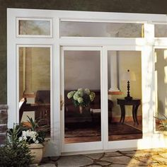 Integrity Fiberglass Wood Ultrex Sliding French Door Exterior