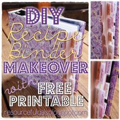 DIY Recipe Binder Makeover - FREE PRINTABLE! | by The Resourceful Gals...I'm finally gonna do it...this year!!!! I have been saying for years that I needed to organize my growing stack of recipes!
