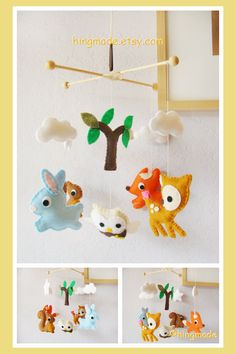 Baby Mobile - Baby Crib Mobile - Forest Animals - Woodland Bunny, Deer, Fox, Owl, Squirrel design (Custom Color Available)