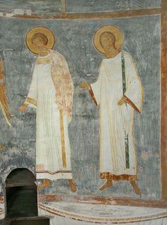 Музей фресок Дионисия - Разрез по северному продольному нефу. Вид на юг - Ангел и диаконы