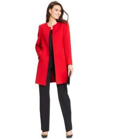 Tahari ASL Long Jacket, Lace Scallop-Trim Top & Relaxed-Fit Trousers | macys.com