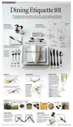 Dining Etiquette 101 - Always good to refresh yourself on proper etiquette.