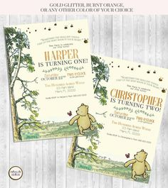 Classic Winnie the Pooh Birthday Invitation by PrisellieDesigns