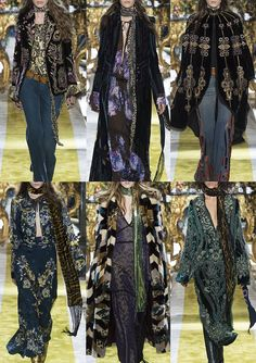 Roberto-Cavalli_AW1617 - Tiger Stripe Velvet – Baroque Curlicued Embroidery – Gold Tissue Lace – Patterned Fur – Lave Patterned Velvet – Folk Embroidery – Gold Print – Fringes and Embellishments – Louche 70's
