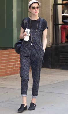 St.Vincent Styles Up A Pair Of Dot Print Dungarees