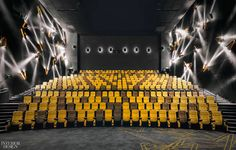 The Shanghai Omnijoi International Cinema by One Plus Partnership is not merely a place to watch movies, but a place that offers a complete viewing experience. Cinema Theatre, Cinema Room, Movie Theater, Hall Interior, Interior Design Awards, Theater Architecture, Architecture Design, Commercial Architecture, Auditorium Design