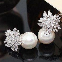 Crystal Cluster Pearl Earrings [Platinum or Rose Gold]