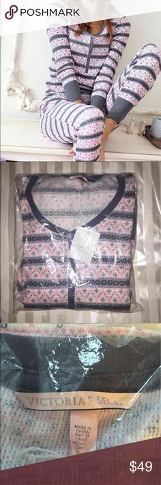 NWT! VICTORIAS SECRET Thermal pajama set Make me an offer. Reasonable offers only.   Will ship for free if you do a bundle :)  Size L. CHEAPER ON MERC! Victoria's Secret Intimates & Sleepwear Pajamas