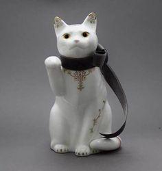 招き猫(大)金唐草ブルーリボン