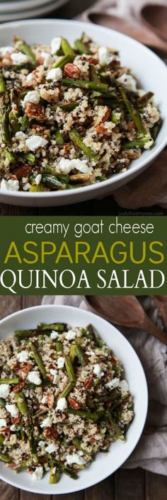 Creamy Goat Cheese Asparagus Quinoa Salad, loaded with delicious flavors your family will love. A quick easy gluten free recipe that makes a great lunch or side dish. | http://joyfulhealthyeats.com