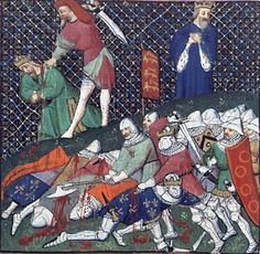 Contemporary illumination of the capture of King John the Good of France at Poitiers, 1356. After his capture at the Battle of Poitiers, John was released shortly afterwards, on condition that some of his retainers, including hIs son Louis of Anjou remain in English hands. After Louis escaped, John was so shamed at his son's breaking of his vows, that, in the face of the advice of his court, John returned voluntarily to his English captors