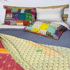 Silk patchwork kantha stitched pillowslips in multi colours.