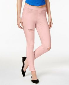 e9d9ecc4bb80d HUE Original Denim Ripped Knee Leggings Tutu Pink Jeggings Size Large $44  NWOT #fashion #