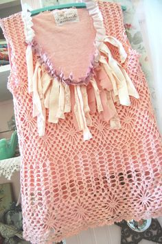 Pink Crochet Tunic Top Sleevless Altered Couture by OfLinenandLace, $38.50