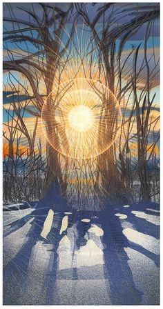 Winter Solstice Sunrise by Android Jones Winter Love, Winter Art, Winter Light, Winter Illustration, Illustration Art, Yule, Mandala Nature, Android Jones, Eugenia Loli