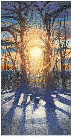 Winter Solstice Sunrise by Android Jones Winter Love, Winter Art, Winter Light, Winter Illustration, Illustration Art, Yule, Mandala Nature, Android Jones, Eugenia Loli