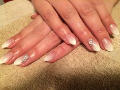 White ombré  French with bling almond nails