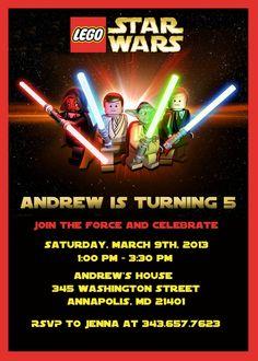 Lego Star Wars Birthday Party Invitation by SleepingOwlCreations