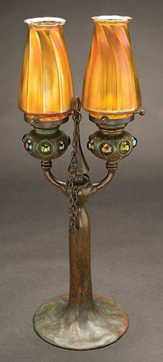 Tiffany Studios Double Candlestick with Jeweled Bobeches