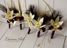 Orchid Wedding Boutonniere  Orchid Wedding Boutonnieres Rustic Boutonniere Grooms Boutonniere  - pinned by pin4etsy.com