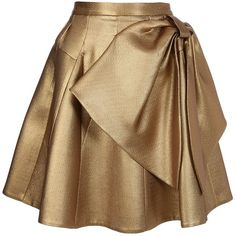DICE KAYEK PLEATED BOW PANEL SKIRT ($265) ❤ liked on Polyvore featuring skirts, bottoms, saias, faldas, metallic skirt, bow skirt, metallic pleated skirt, brown pleated skirt and knee length pleated skirt
