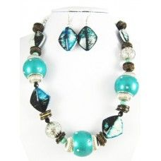 Turquoise and Black Necklace Set  $12.00