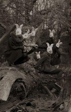 """Bunnyland"" - Photography by Alena Beljakova, Bunny# masks,# wonderland,# creepy ? Film Noir Fotografie, Old Photos, Vintage Photos, Vintage Halloween Photos, Halloween Pictures, Images Terrifiantes, Psy Art, Arte Obscura, Bizarre"