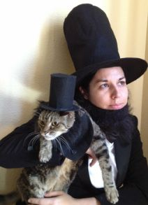 """I love pennies...which inspired these outfits.  I think my cat loves them too...doesn't her face say, """"I love pennies & am honored to be dressed as Abe Lincoln?"""""""