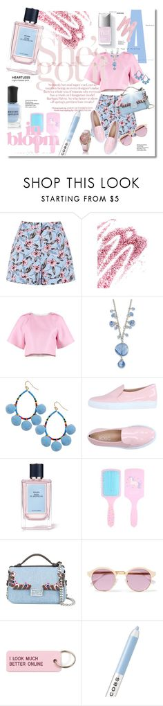 """Pink & bluer"" by elona-makavelli ❤ liked on Polyvore featuring Obsessive Compulsive Cosmetics, TIBI, 1928, Humble Chic, Rodo, Prada, Fendi, Sheriff&Cherry, Various Projects and Marc Jacobs"